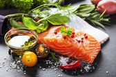 Delicious  portion of  fresh salmon fillet  with aromatic herbs, — Stok fotoğraf
