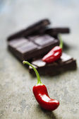 Dark chocolate with chilli pepper - sweet food — Stock Photo