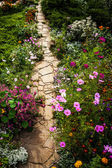 Stone road cross fairy flower park. — Stock Photo