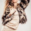 Portrait of attractive stylish woman in fur against grey background. - 图库照片
