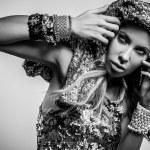 Luxury & beauty woman in a fashionable clothes. Black-white studio fashion photo. — Stock Photo #18347243