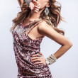 Stock Photo: Young sensual & beauty woman in a fashionable dress.
