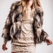 Portrait of attractive stylish woman in fur against grey background. — Stock Photo #18354835