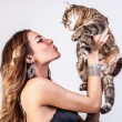 Beautiful woman with a cat. — Stock Photo #18355233