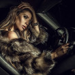 Luxury woman in a car.  — Stock Photo