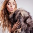 Portrait of attractive stylish woman in fur against grey background. — Stock Photo #18355997