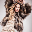 Portrait of attractive stylish woman in fur against grey background. — Stock Photo #18356167