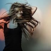 Jonge sensuele model meisje. kleurenfoto gezicht kunst studio. — Stockfoto