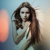 Young sensual model girl. Color face art studio photo. — Stock Photo