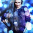 Beautiful fashion woman. Color face pop art photo toned blue. - Stock Photo