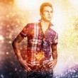 Multicolored digital painted image portrait of elegant young handsome man. — Stock Photo