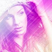 Beautiful fashion woman. Color face pop art photo toned pink. — Stock Photo