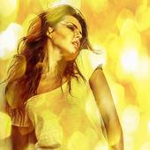 Young sensual romantic beauty woman. Multicolored pop art style photo. — Stock Photo