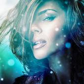 Jonge sensuele romantische schoonheid vrouw. veelkleurige popart stijl foto. — Stockfoto