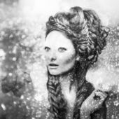 Romantic beauty with magnificent hair wandering in clouds. Digital painted black-white portrait of women face. — Stockfoto