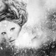 Romantic beauty with magnificent hair wandering in clouds. Digital painted black-white portrait of women face.   — Stock Photo