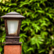Old lamp on leaf background. Details of Asian garden. - Stock Photo