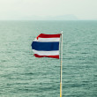 National flag of Thailand with a water background. - Stock Photo