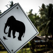 "Road sign ""caution elephants"" on the track in Thailand - 图库照片"