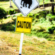 "Stock Photo: Road sign ""caution elephants"" on the track in Thailand"