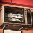 The old TV with a broken screen — Stok fotoğraf