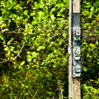 A power meters on electrical pole - Foto Stock