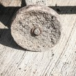 Old wheel closeup. Wheelbarrow element - Stockfoto