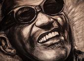 Porträt des berühmten musiciant von ray charles — Stockfoto