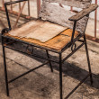 Single old broken wooden chair - Stockfoto