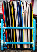 Surfboards lined up on the beach — Stock Photo