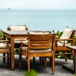 Cafe on the beach of tropical island - vacation background - ストック写真