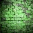 Stock Photo: Colored green brick wall background