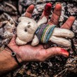 Hand with teddy bear — Foto de Stock