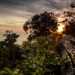 Landscape of tropical island with perfect sunset sky — Stock fotografie