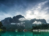 Rocks in Islands with overwater bungalows — Stock Photo