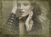 Retro styled grunge portrait of young beautiful woman. — Stock Photo