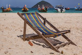 A chaise-longue on the beach — Stock Photo