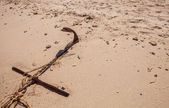 Rope for mooring boat on beach — Stock Photo