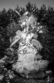 Fashion image of sensual girl in bright fantasy stylization. Black-white outdoor fairy tale art photo. — Photo