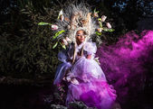 Fashion image of sensual girl in bright fantasy stylization. Outdoor fairy tale art photo. — Stock Photo