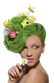 Woman with cans, house and bee in hair — Stock Photo