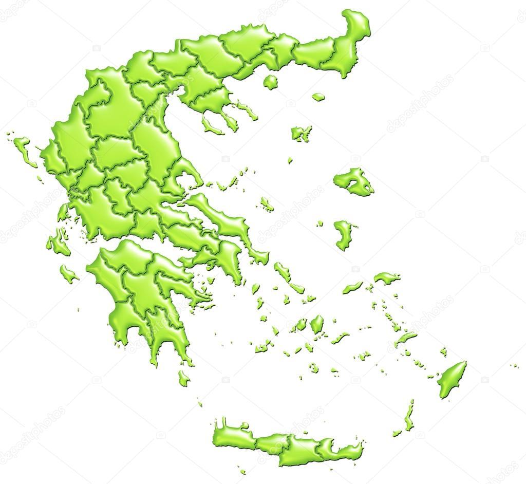 希腊地图充满绿色渐变