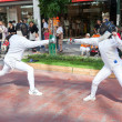 Fencing in the center of town — Foto de Stock