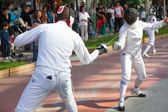 Fencing in the center of town — Stock Photo