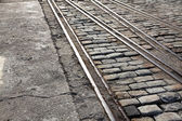 Train lines in paved street — Stock Photo