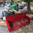 Piles of garbage in the center of Thessaloniki - Greece — Stock Photo #29349035