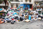 Piles of garbage in the center of Thessaloniki - Greece — Stock Photo