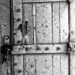 The wooden door to a jail cell — Stock Photo