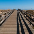Wooden walkway on beach - Stock Photo