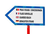 Guarded beach sign — Stock Photo